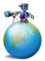 robot with a telescope above the planet earth