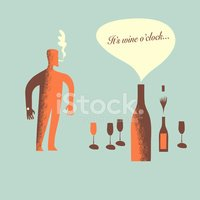 Its wine time character smoking illustration