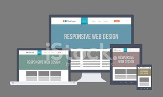 Flat responsive web design with multiple devices