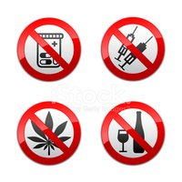 Set prohibited signs - drugs