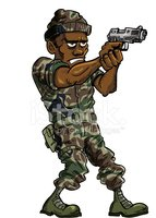 Cartoon soldier with a hand gun. Isolated