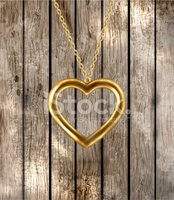 Gold Chain,Heart Shape,Wood...