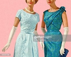 Two Women Wearing Evening Gowns