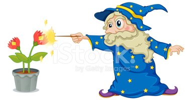 Wizard Holding A Wand Pointing AT The Flowers stock ...