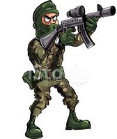 Cartoon Soldier With Gun