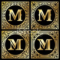 Letter M,Sign,Gold Colored,...