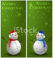 Green Christmas vertical background with snowman