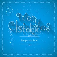 Merry Christmas lettering blue background, vector illustration