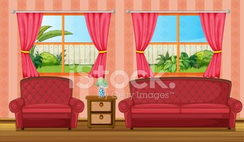 red sofaset and side table