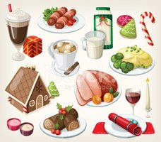 Set of traditional christmas food and desserts