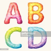 Vector  colorful abstract alphabet. Letters A B C D.