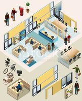 3d Isometric office with colleagues from different departments