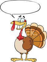 Turkey Mascot Cartoon Character With Speech Bubble