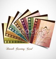Hindu Lord Ganesha presentation greeting card beautiful colorful