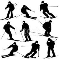 Skiing,Symbol,Silhouette,Ve...