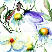 Watercolor Painting,Bluebel...