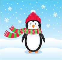 Penguin,Christmas,Cartoon,V...