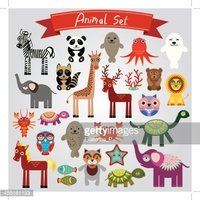 Set of funny cartoon animals on a white background. vector
