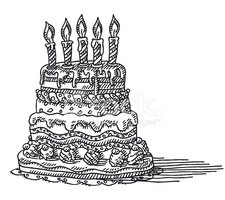 Huge Birthday Cake Candles Drawing