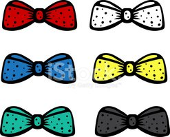 Set colored bow tie isolated