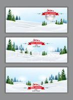 Christmas and happy new year banner with pine forest background