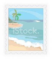Postage Stamp,Mail,Beach,Il...