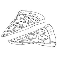 Pizza,Sketch,Line Art,Chees...