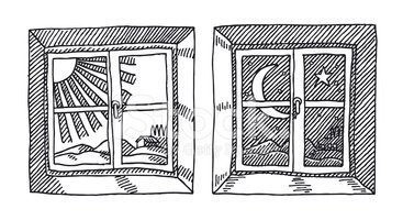 vintage window drawing. window view day and night drawing vintage