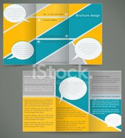 Vector brochure layout design with yellow elements, three fold f