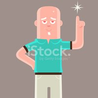 Cheerful elderly man with an idea pointing at a star