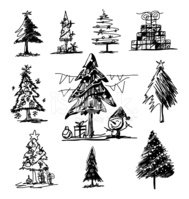 Christmas Tree Sketch On White Background Stock Vectors Clipart Me