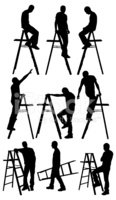Silhouette,Ladder,Clamberin...