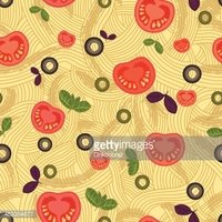 seamless pattern, spaghetti with tomatoes