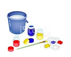 Color Paint Jars and Palette with A Bucket