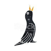 retro cartoon singing blackbird