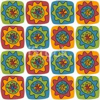 Bright background with squares and flowers