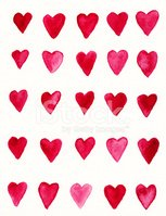 Hand painted red heart pattern on white background