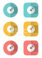 Compact Disc flat icon set