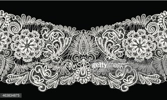 Seamless Stripe Floral Lace Ornament White On Black Background Stock