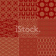 seamless chinese traditional background set