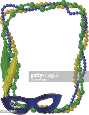 Mardi Gras Beads Frame With Mask stock vectors - Clipart.me
