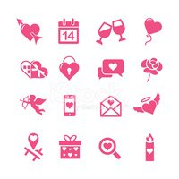 Valentine's day silhouette pink icons set