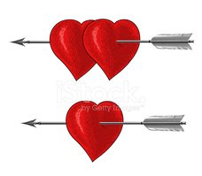 Vintage Heart with Arrow in engraving style