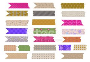 Tape cute. Vector collection of patterned