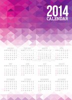 Colorful Abstract 2014 Calendar Template