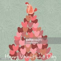 stylish love card with chicken-illustration