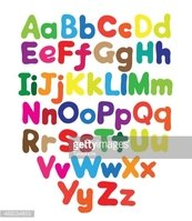 Alphabet bubble colored hand drawing
