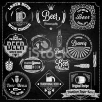 Set of white beer elements on black chalkboard