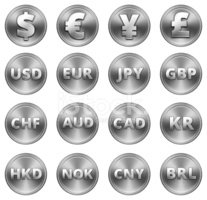Currency Symbol,Set,Silver ...