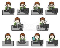 Cartoon,Desk,PC,Telephone,B...